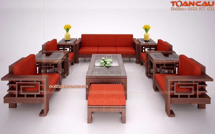 Sofa gỗ đẹp, bàn ghế gỗ phòng khách - T073 được ưa chuộng nhất hiện nay.