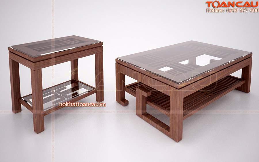 Bàn Sofa gỗ làm bằng gỗ Sồi với tấm kính cường lực tốt nhất.