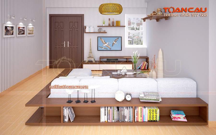 , thiết kế phòng khách với bàn ghế gỗ