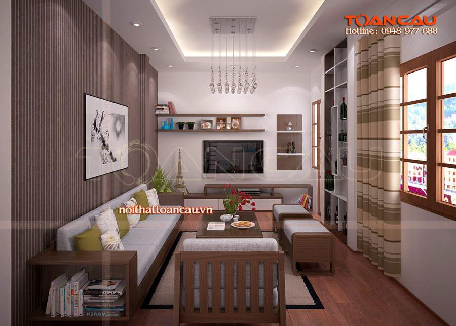 Phòng khách gỗ óc chó cho căn hộ chung cư
