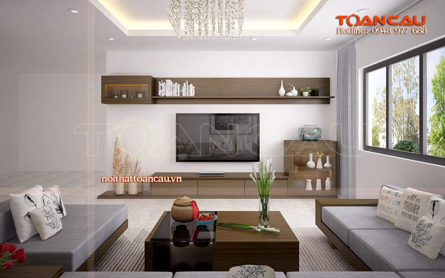 Mẫu thiết kế phòng khách đẹp bằng gỗ óc chó tại Ninh Bình