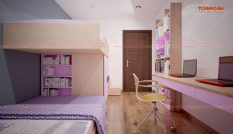 trang trí phòng ngủ cho bé gái đơn giản gam màu hồng