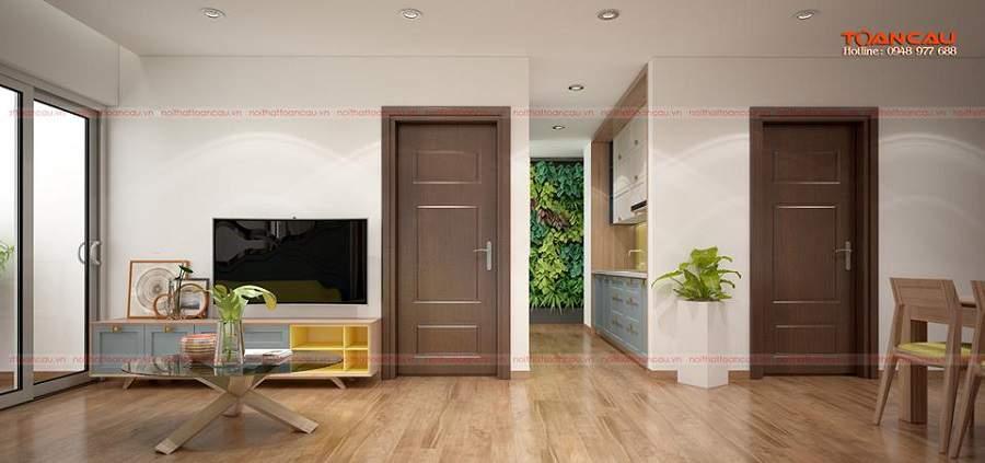 thiết kế căn hộ 50m2 2 phòng ngủ hiện đại