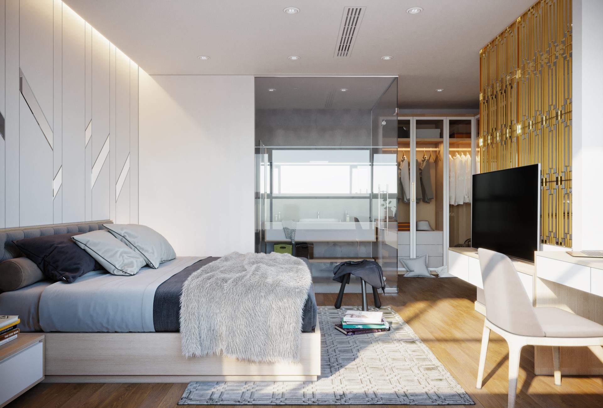 Mẫu thiết kế phòng ngủ hiện đại cho nhà chung cư