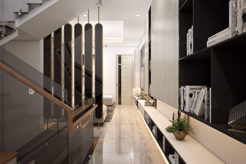 Mẫu thiết kế phòng khách nhà ống có cầu thang đẹp hiện đại