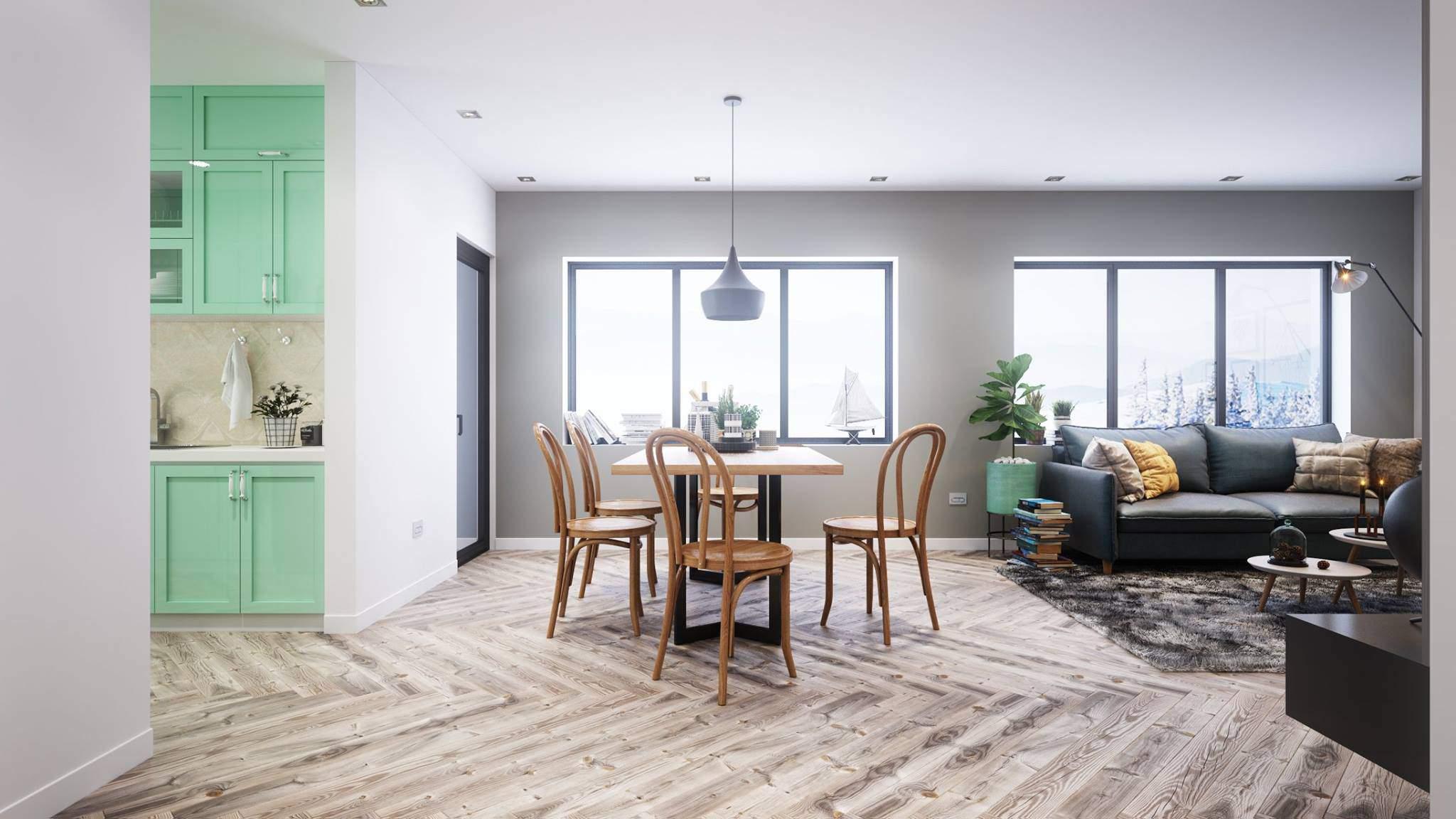 Mẫu thiết kế phòng khách liền kề phòng bếp đẹp tiện nghi