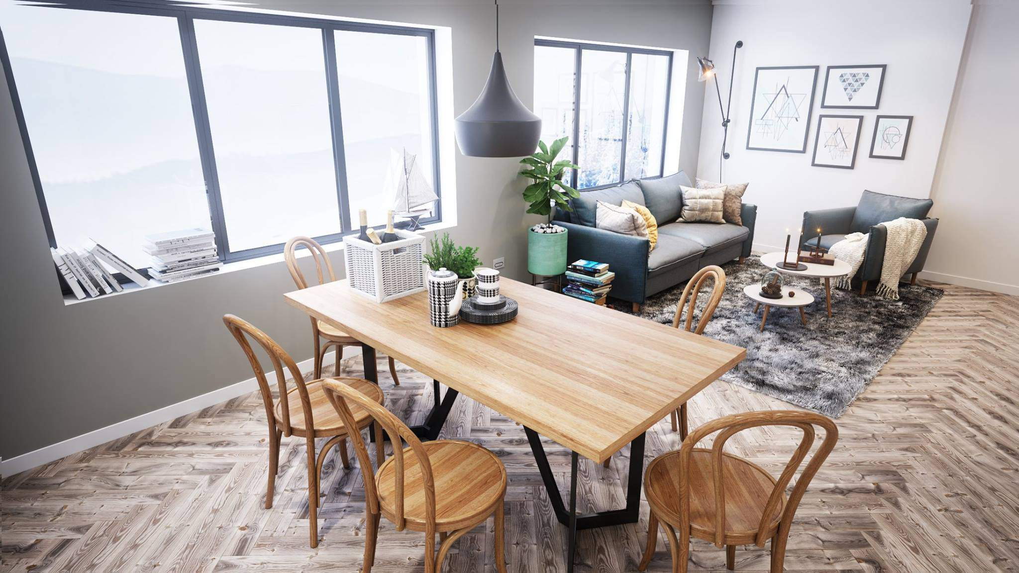 Mẫu thiết kế phòng khách đẹp liền kề với phòng bếp