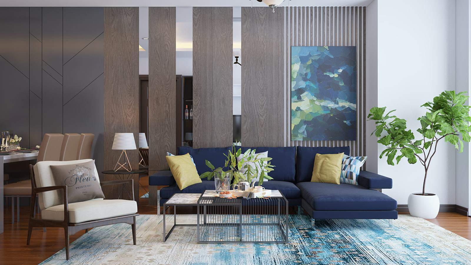 Trang trí phòng khách nhà ống với nội thất hiện đại