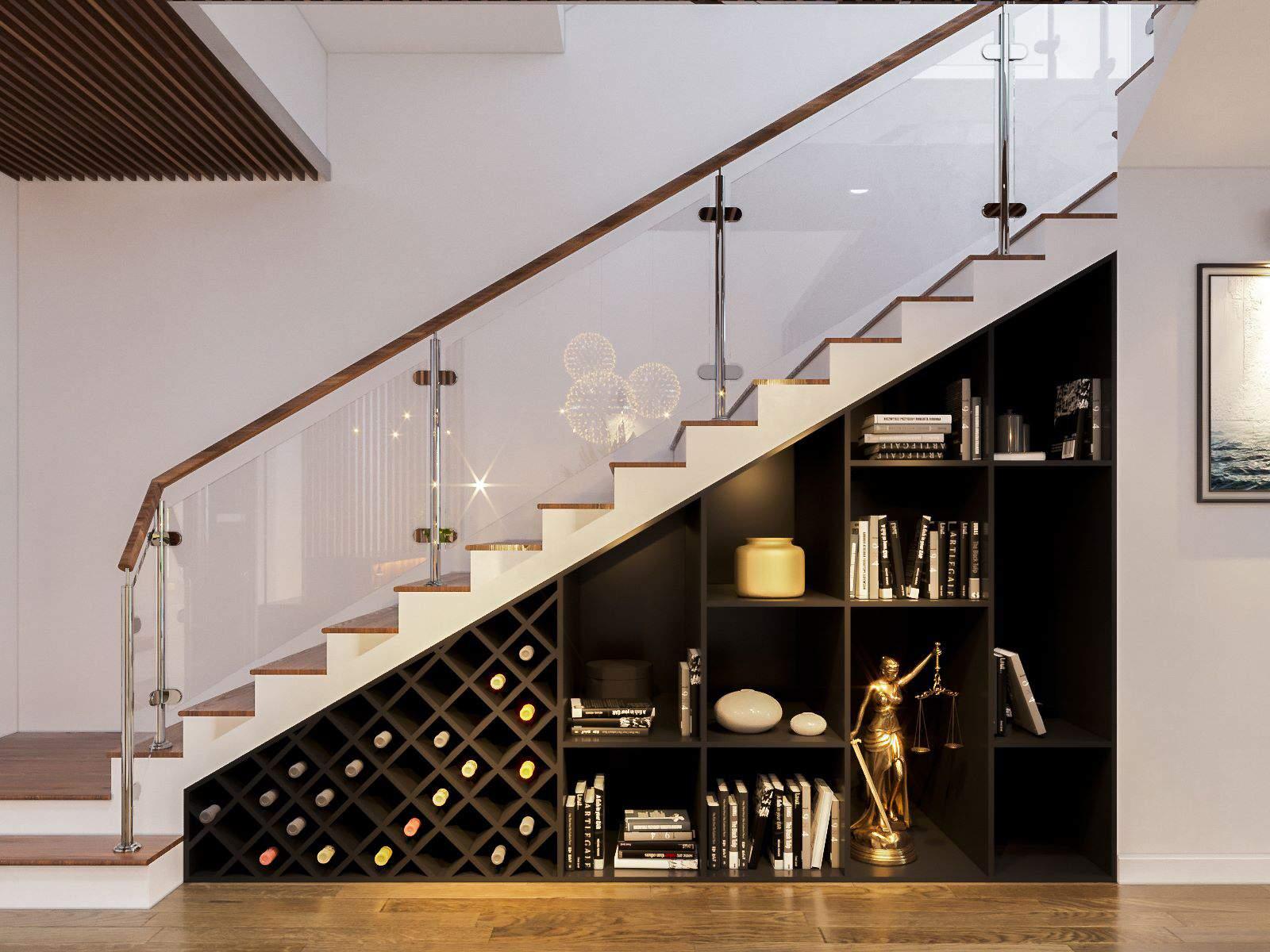 Mẫu thiết kế phòng khách đẹp có cầu thang đẹp tiện nghi