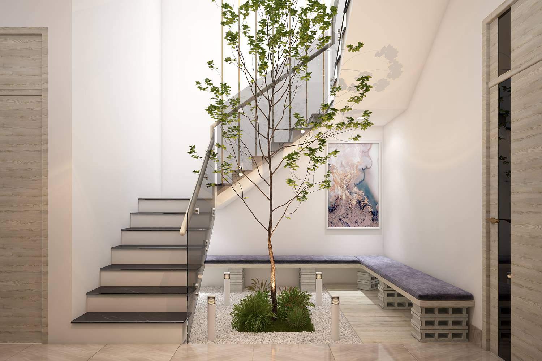 Mẫu thiết kế phòng khách nhà ống có cầu thang đẹp và sang trọng