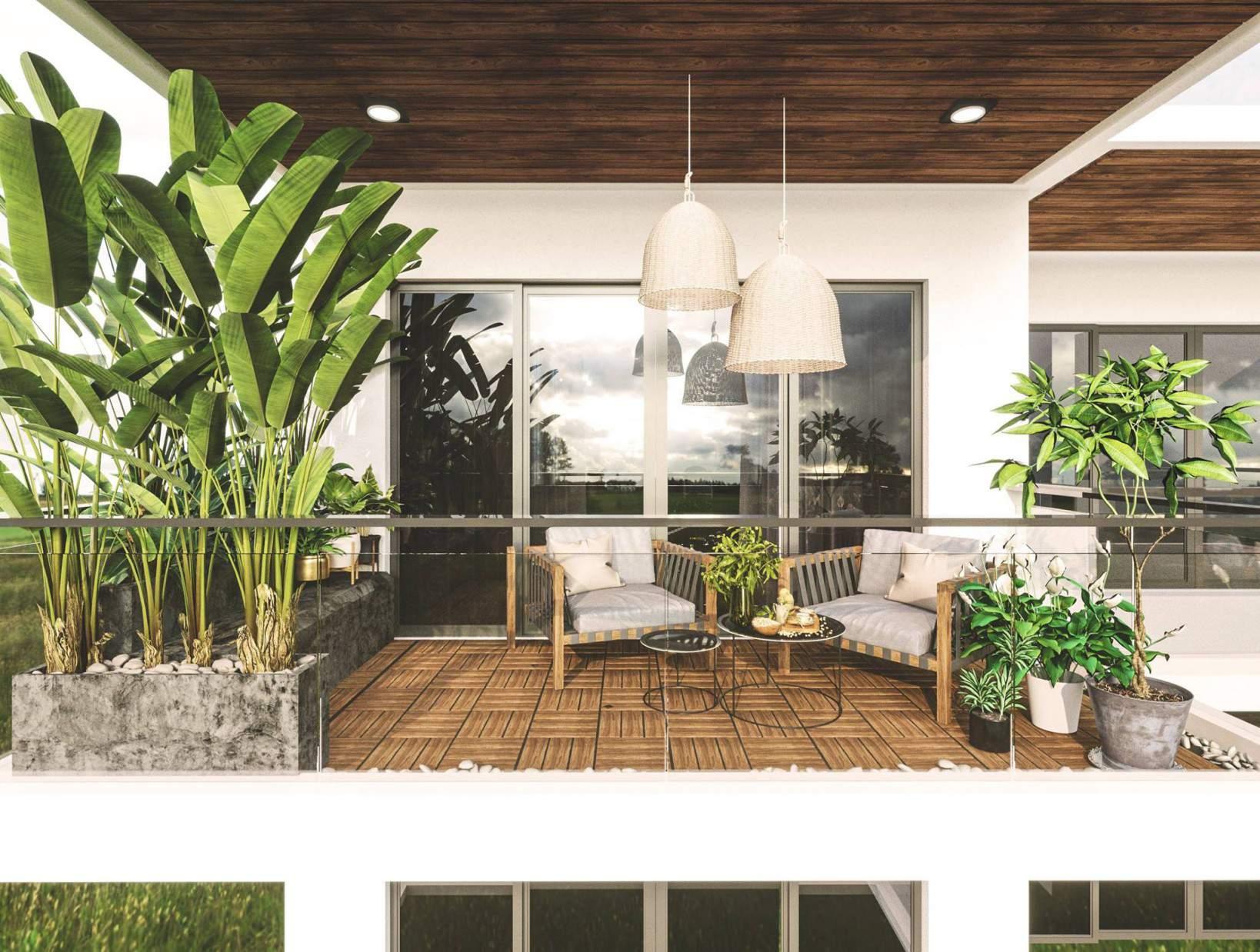 hiết kế ban công cho nhà chung cư đẹp gần gũi với thiên nhiên