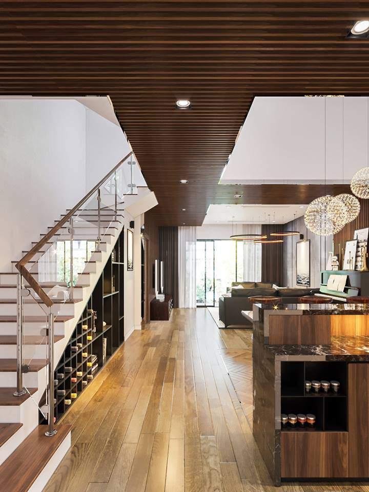 Trang trí phòng khách nhà ống có cầu thang tiết kiệm diện tích