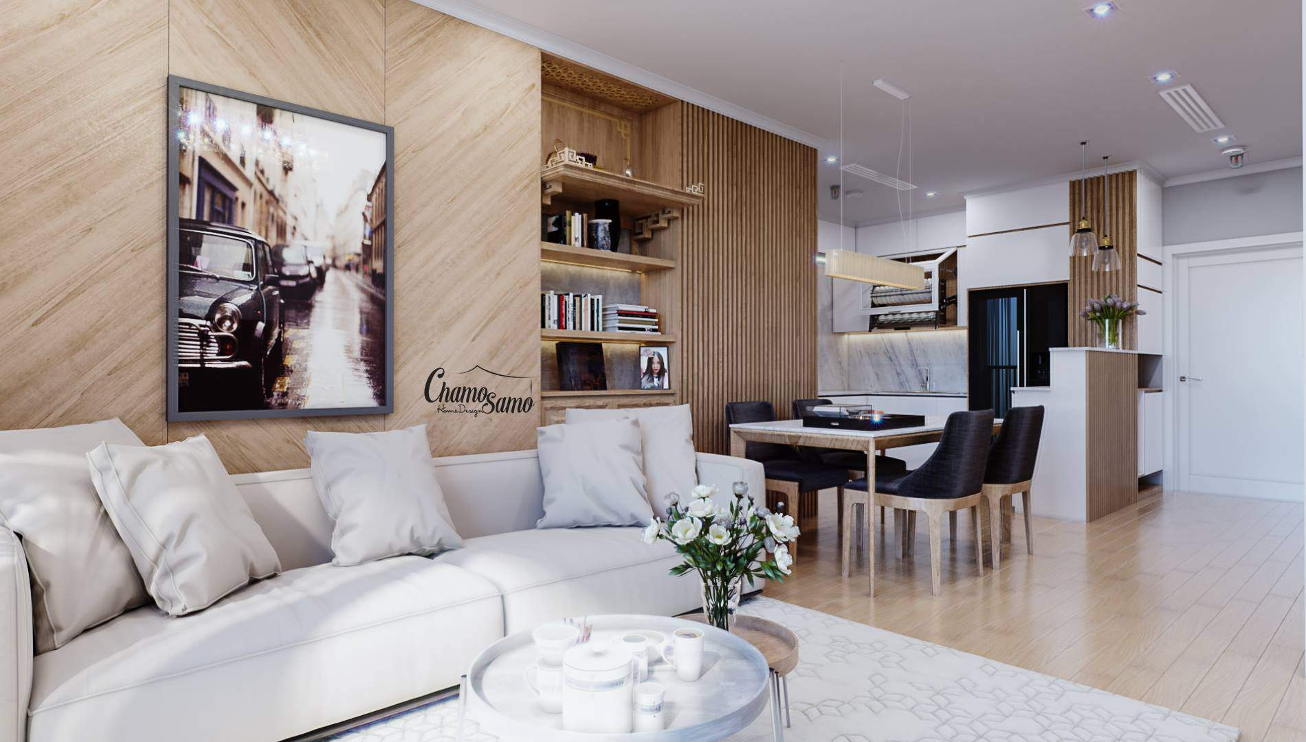 Trang trí phòng khách đơn giản với gam màu hài hòa