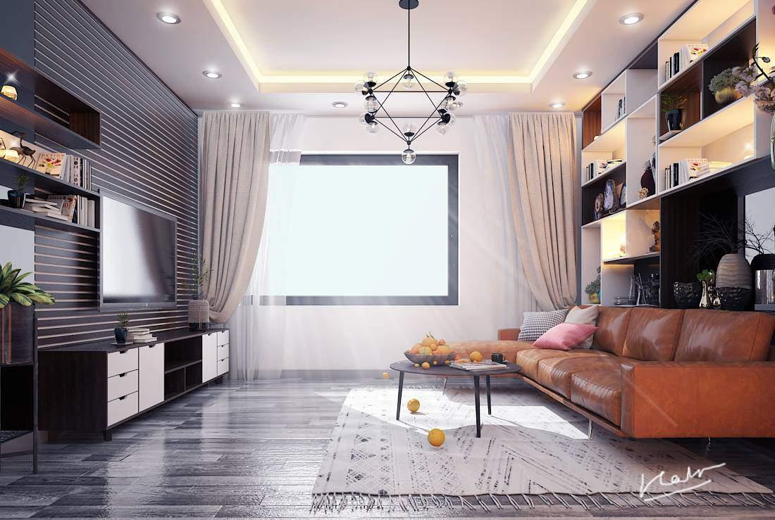 Mẫu trang trí phòng khách đơn giản tuyệt đẹp cho nhà ống