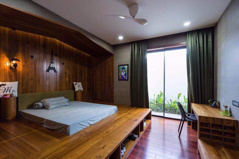 Mẫu thiết kế tường phòng ngủ bằng gỗ đẹp sang trọng
