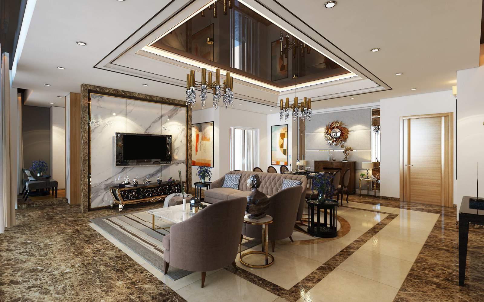 Mẫu thiết kế phòng khách đẹp và sang chảnh
