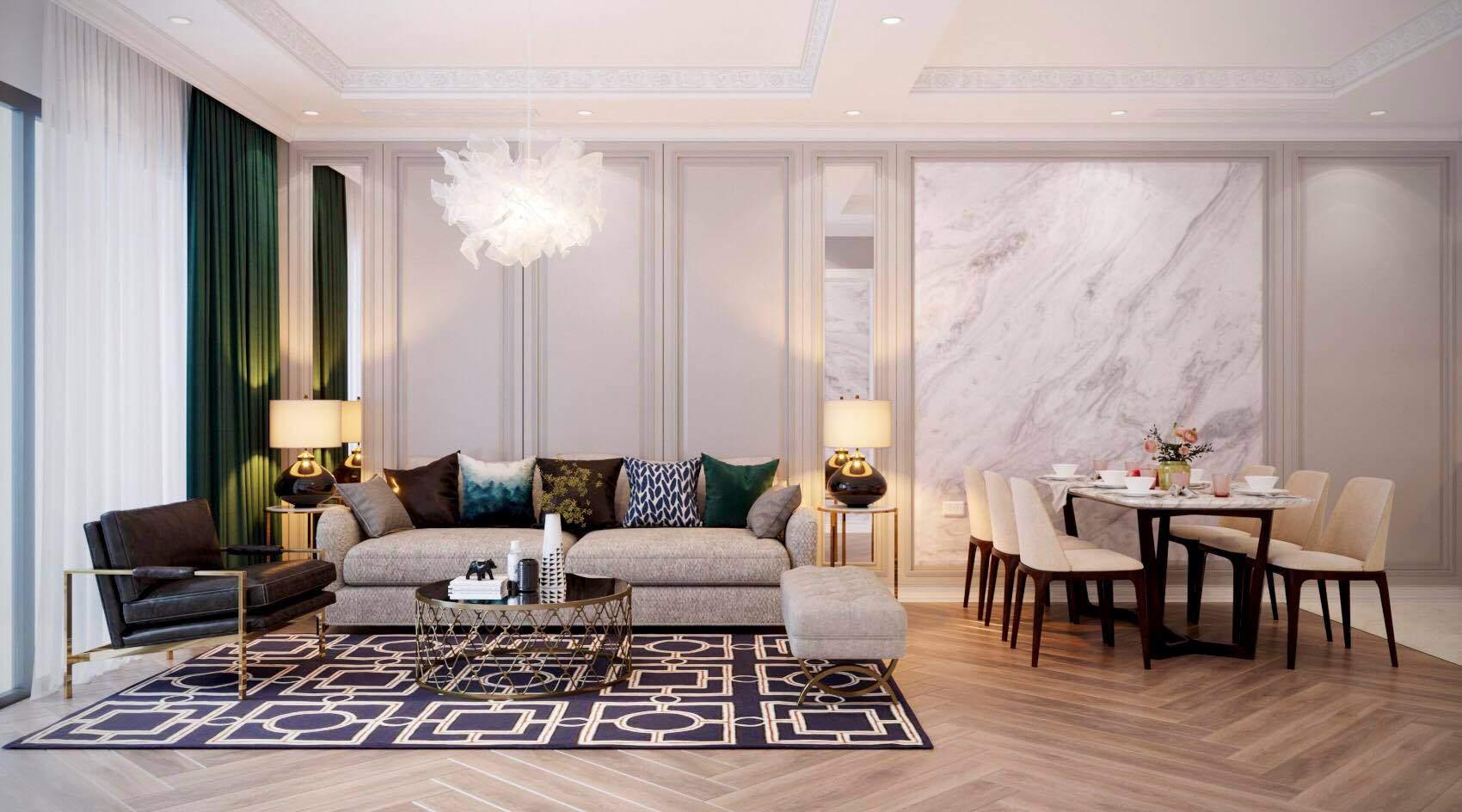 Thiết kế phòng khách liên thông nhà bếp với màu sắc hài hòa