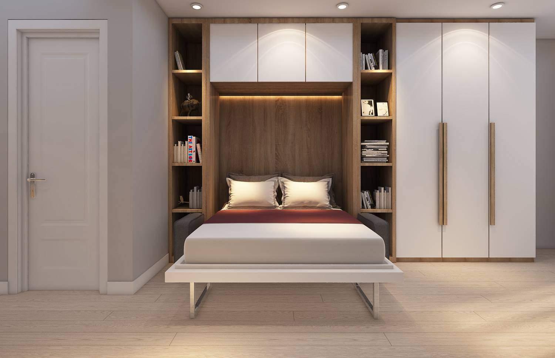 Mẫu thiết kế phòng ngủ nhỏ đơn giản với nội thất thông minh