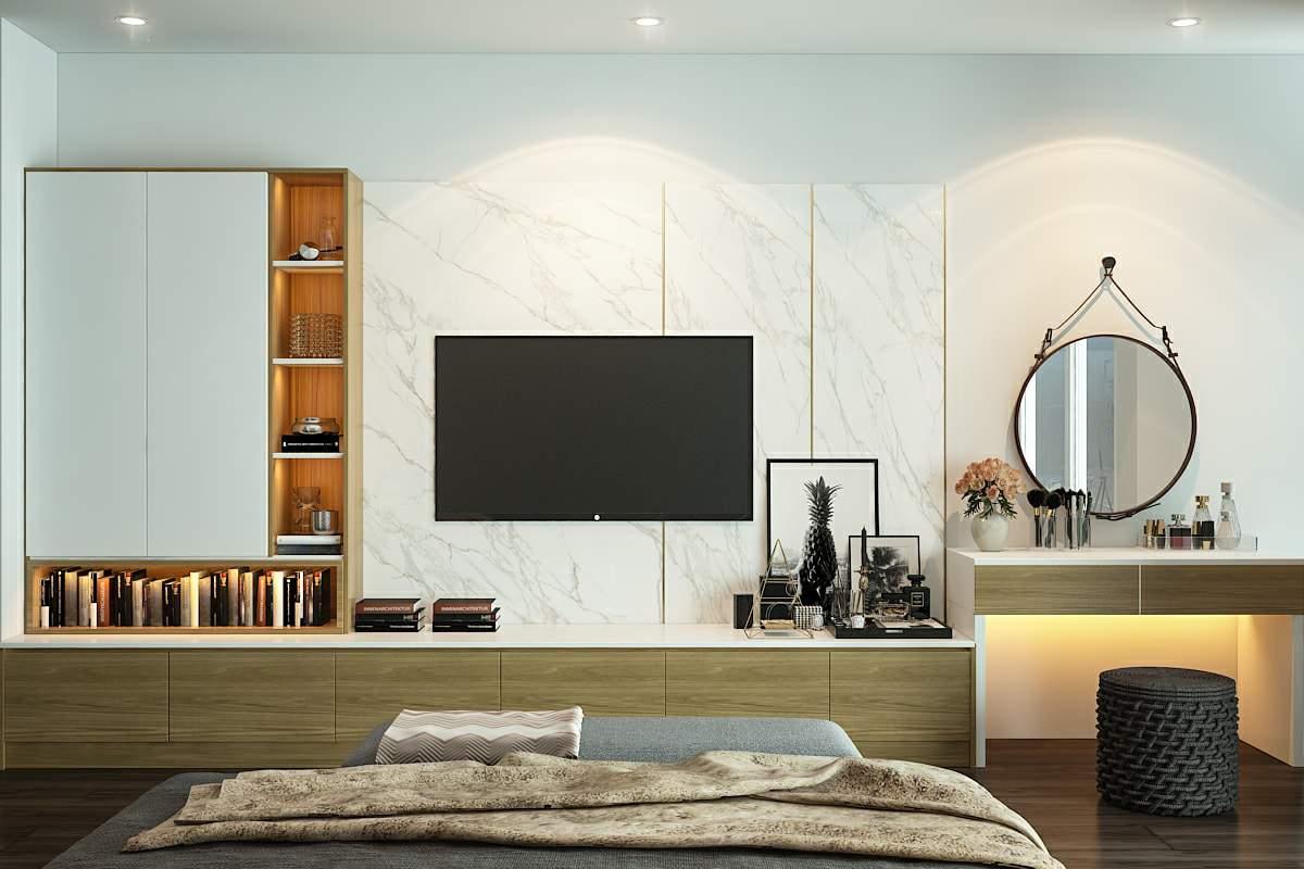 Mẫu thiết kế phòng ngủ hiện đại với gam màu bắt mắt