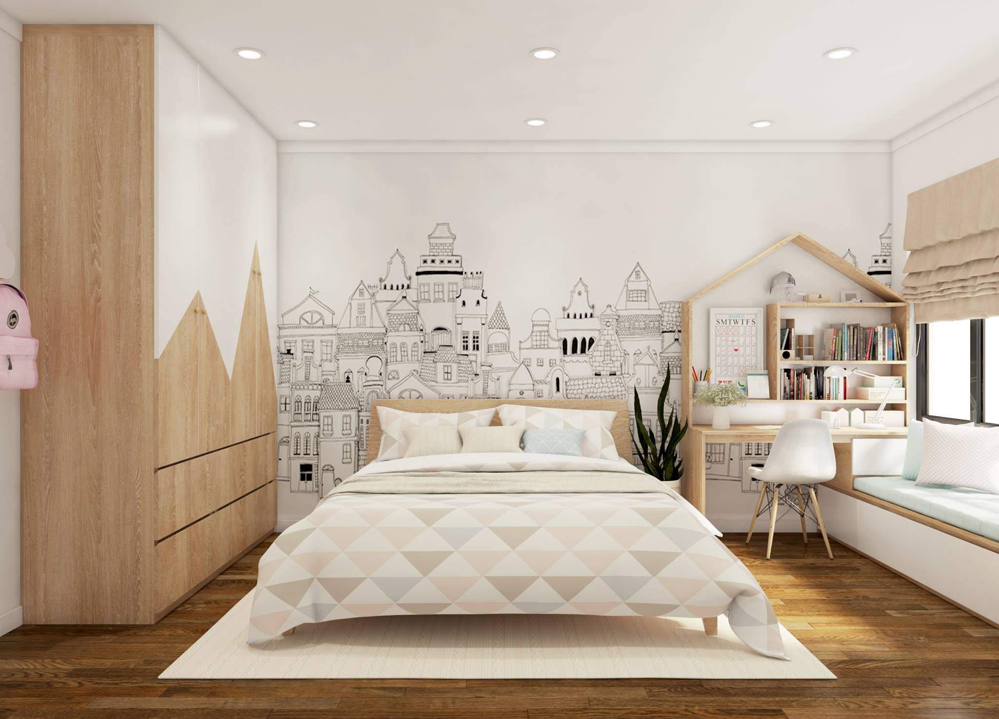 Thiết kế phòng ngủ nhỏ với màu sắc hài hòa