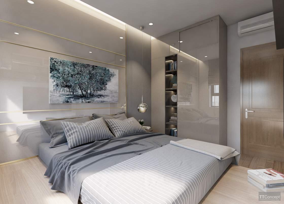 Mẫu thiết kế tường phòng ngủ hiện đại với nội thất tinh tế