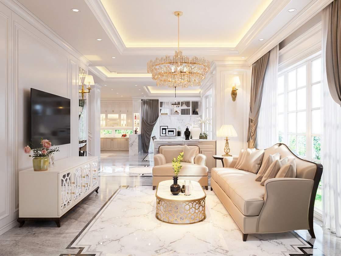 Thiết kế phòng khách đẹp với không gian mở màu sắc hài hòa