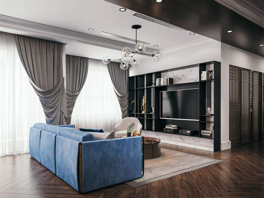 Trang trí phòng khách đẹp độc đáo với gam màu hài hòa bắt mắt