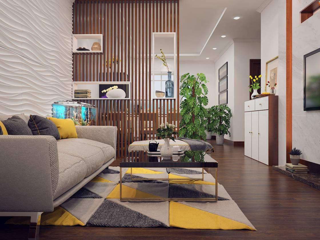 Mẫu thiết kế phòng khách liền kề phòng bếp đẹp cho nhà chung cư