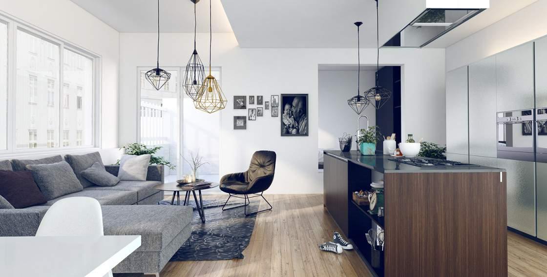 Thiết kế phòng khách Fivestar mới lạ với gam màu trung tính