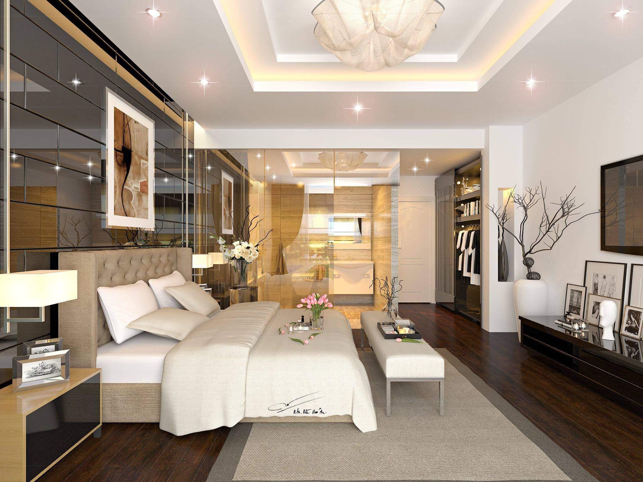 thiết kế nội thất biệt thự cho phòng ngủ ấm áp
