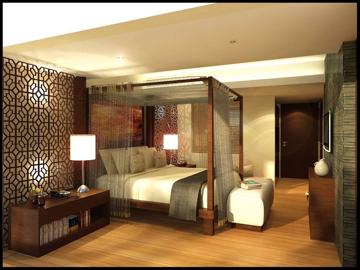 thiết kế nội thất biệt thự đẹp phòng ngủ mầu trầm ấm