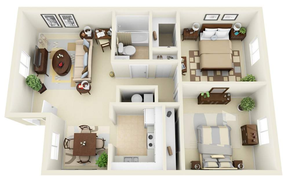 thiết kế nội thất chung cư 2 phòng ngủ, thiết kế thi công nội thất chung cư bắt mắt