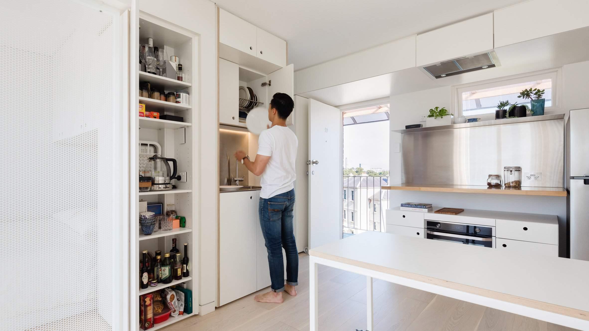 thiết kế nội thất chung cư 45m2, thiết kế chung cư 45m2 phòng bếp tinh tế