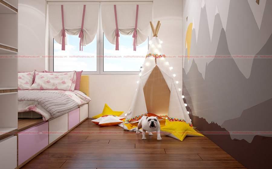 Thiết kế nhà ống 2 tầng 3 phòng ngủ 1 phòng thờ cho căn phòng của bé