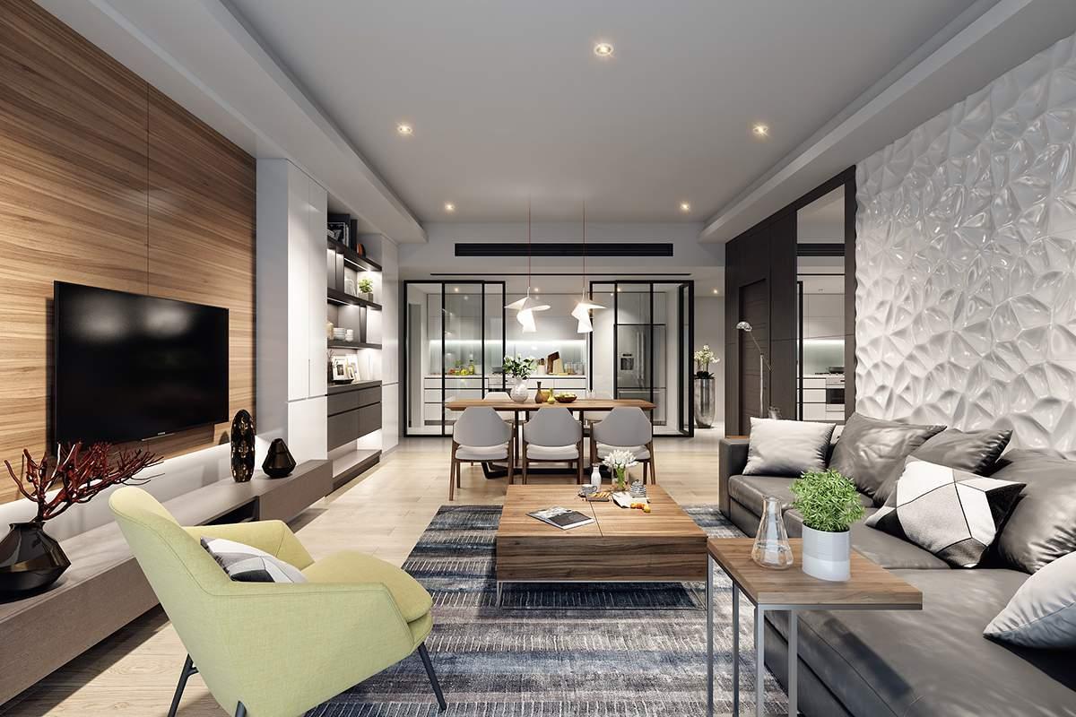 Thiết kế nội thất gỗ CN An Cường cho nhà chung cư đẹp giá rẻ