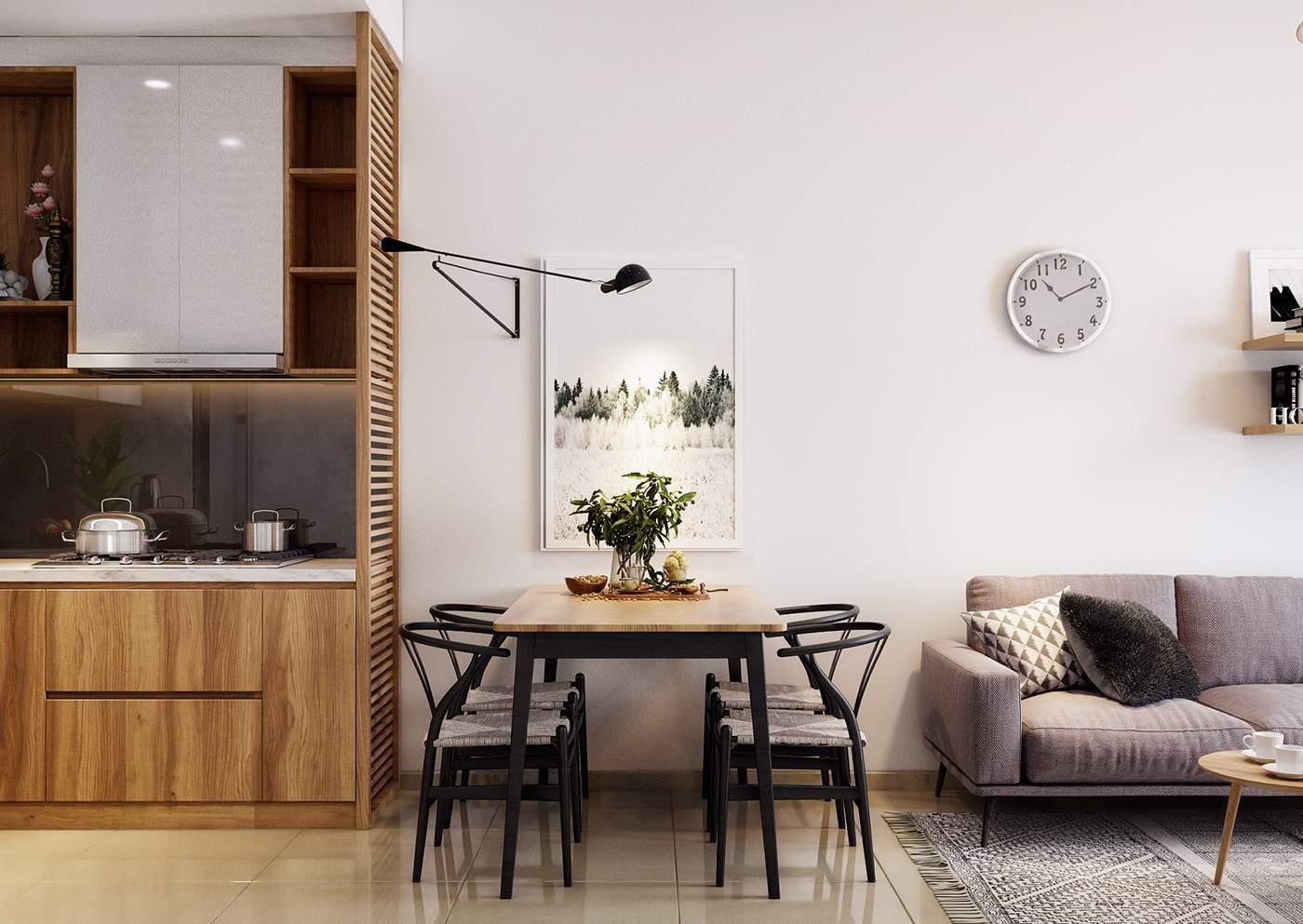 Thiết kế nội thất phòng khách liền phòng bếp hiện đại