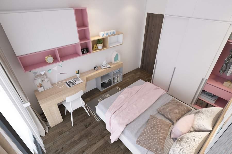 Thiết kế căn hộ 70m2 2 phòng ngủ cho bé
