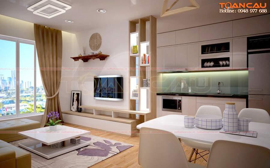 thiết kế phòng khách nhỏ đơn giản tiện lợi