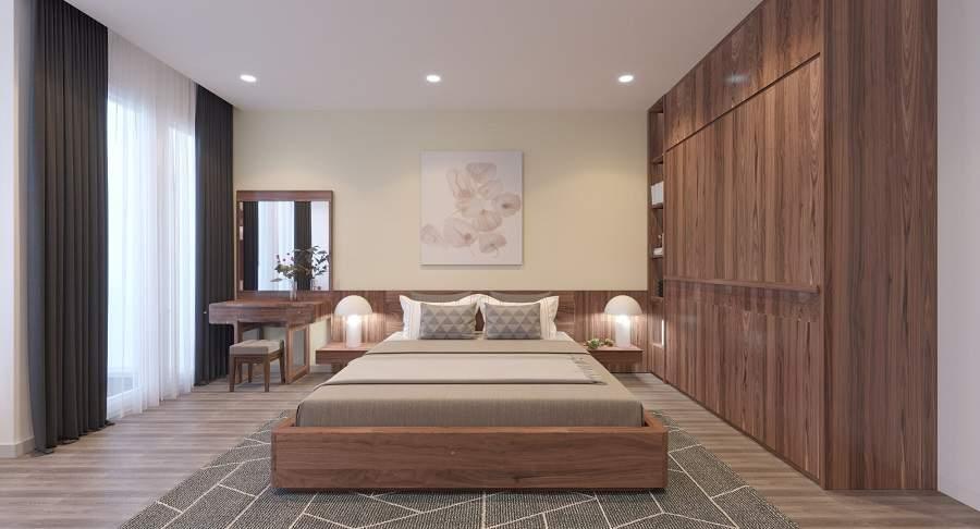 Thiết kế nội thất chung cư nhỏ gỗ óc chó