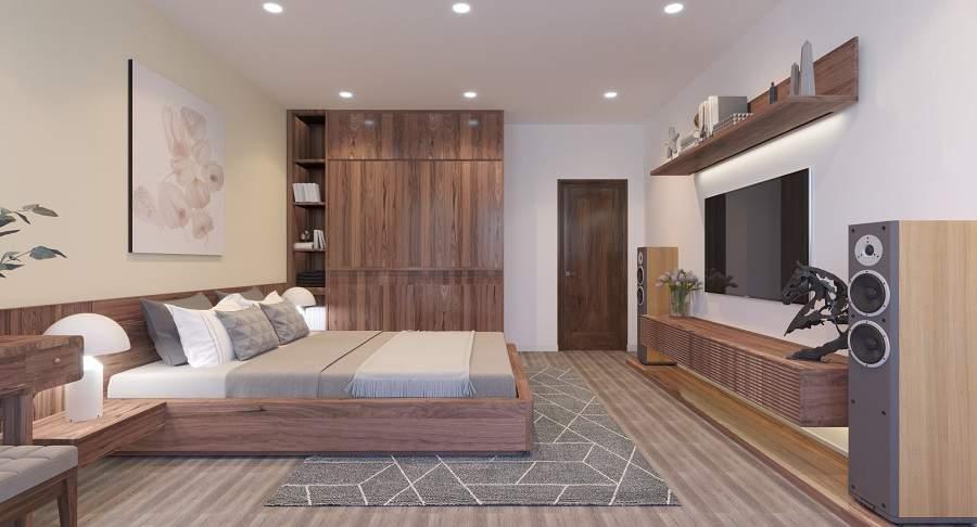 Thiết kế nội thất chung cư bằng gỗ óc