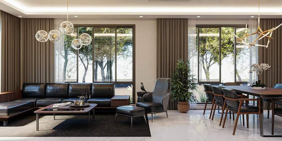Mẫu thiết kế nội thất phòng khách nhà phố 2 tầng đẹp
