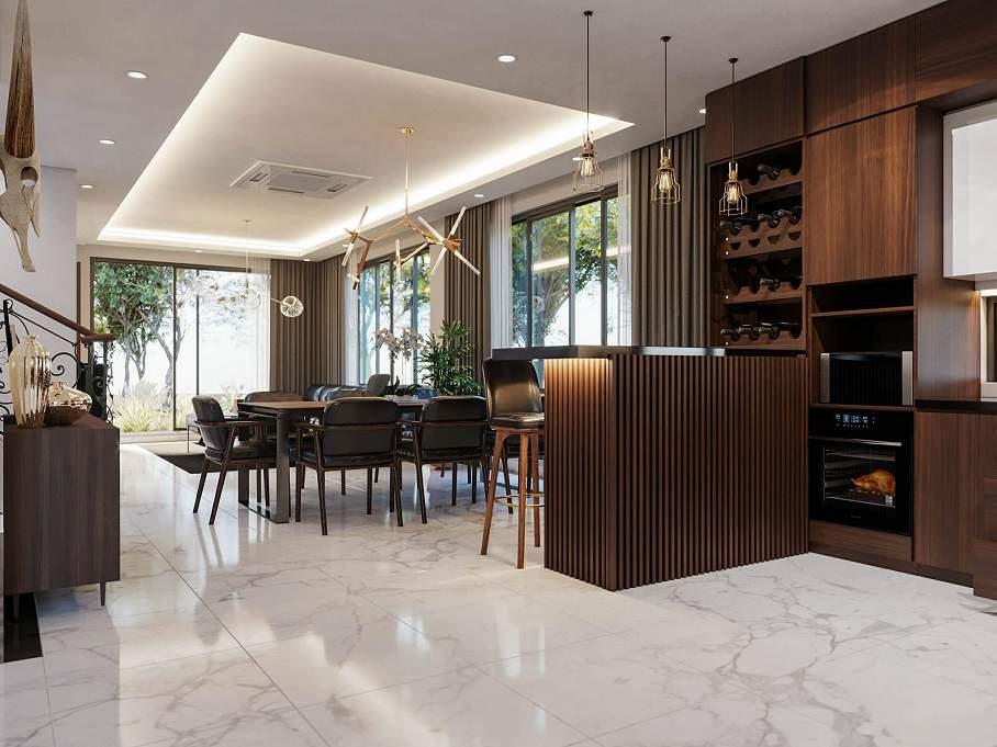 Trang trí phòng khách liền kề phòng bếp đẹp tiện nghi