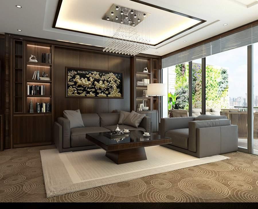 Thiết kế nội thất nhà phố diện tích nhỏ bằng gỗ óc chó