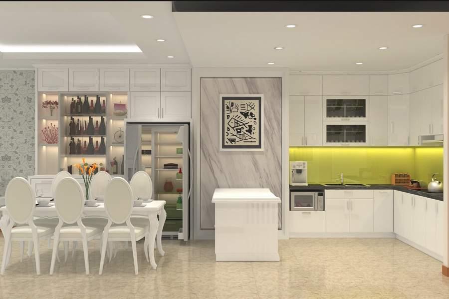 Thiết kế nội thất phòng bếp nhà ống rất đẹp