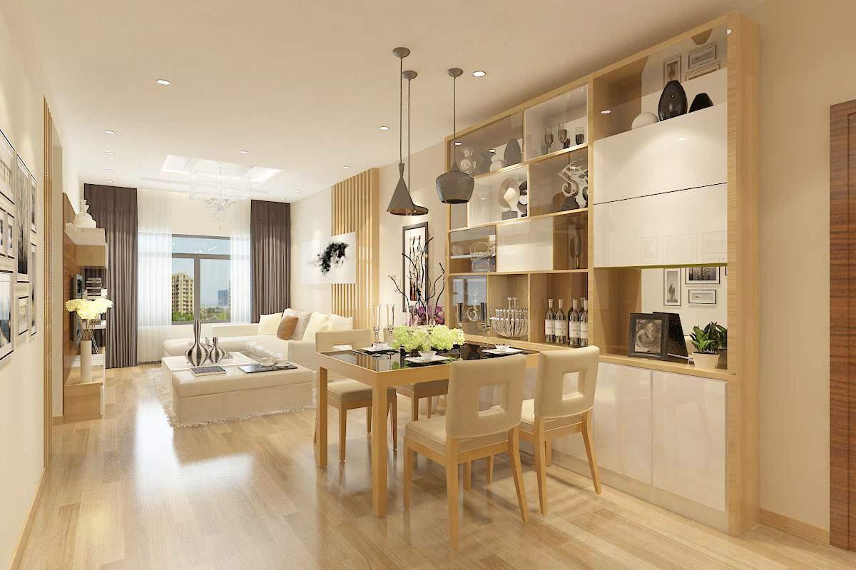 thiết kế phòng khách và bếp cho nhà ống sang trọng