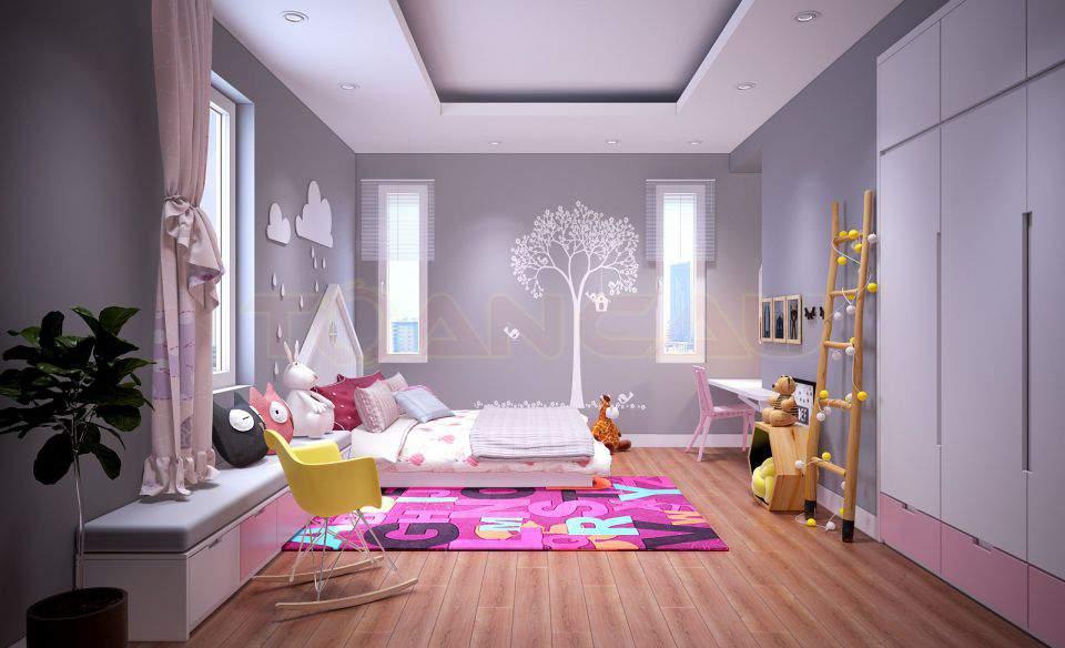 Thiết kế phòng ngủ nhỏ 20m2 tiện ích cho bé gái