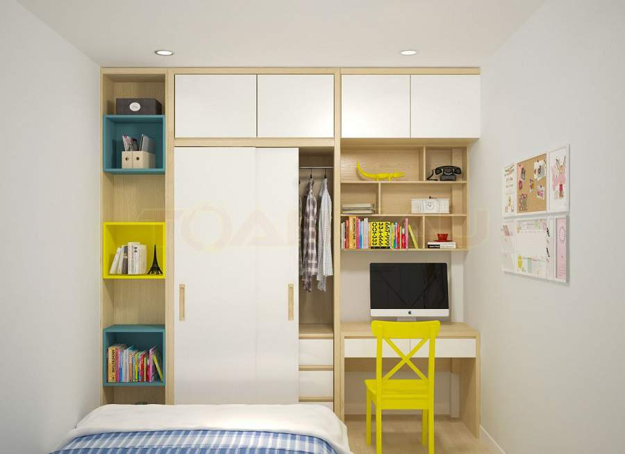 Thiết kế nội thất phòng ngủ nhỏ 20m2 phòng ngủ được sắp xếp ngăn nắp