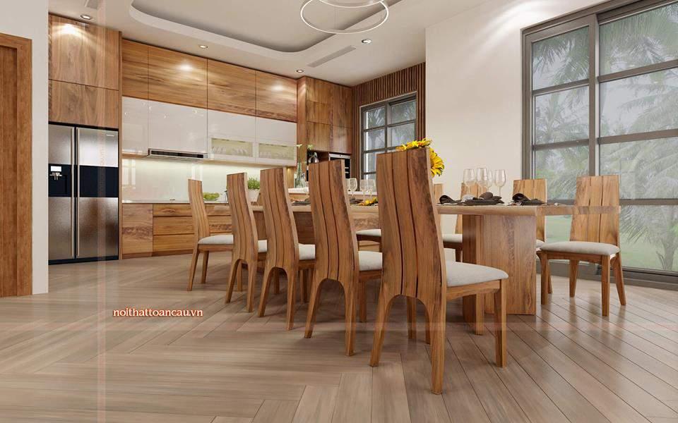 Phòng bếp được thiết kế với gam màu gỗ óc chó