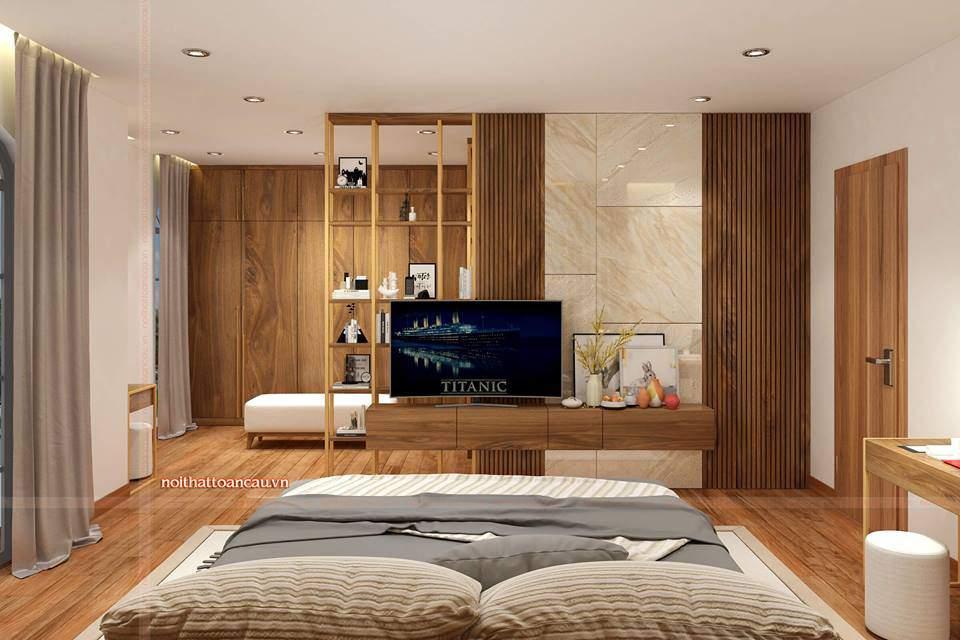 Nội thất căn phòng đều được làm bằng gỗ óc chó