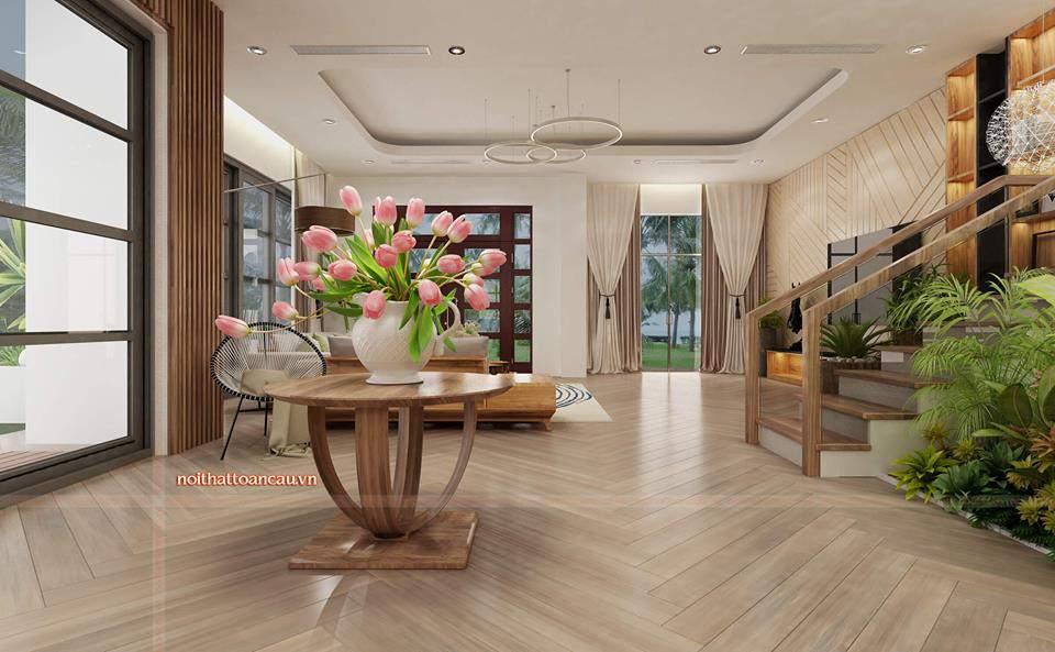 Không gian căn phòng với hoa, cây cảnh mang không gian tươi mát